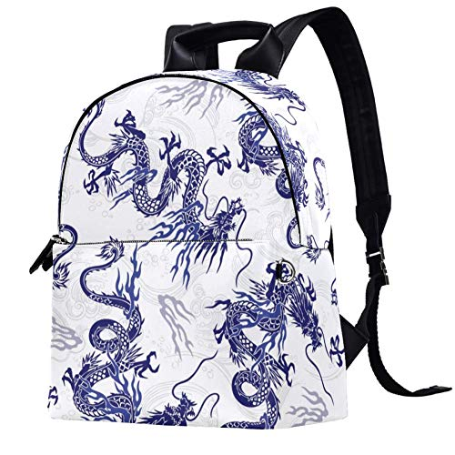 Chinese Dragon Pattern Backpack Casual Daypack College School Computer Bookbag Travel Bag