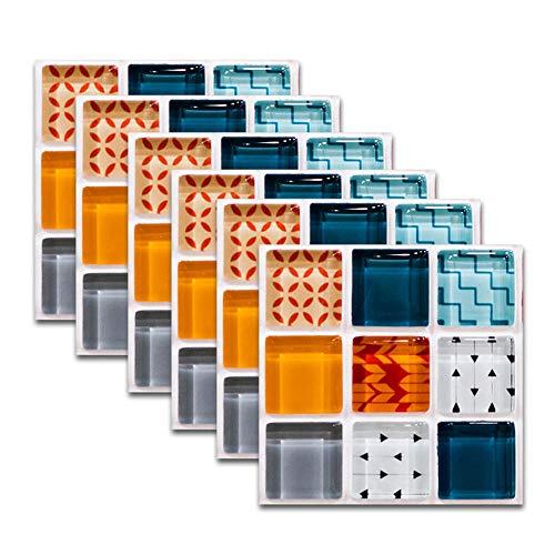 QAZN 30 PCS 8x8in / 20x20cm Adhesivo Autoadhesivo para Azulejos para Cocina Baño Splashback Papel de Contacto Pelar y Pegar Adhesivo Decorativo para Azulejos de Pared-Mosaico Azul Naranja