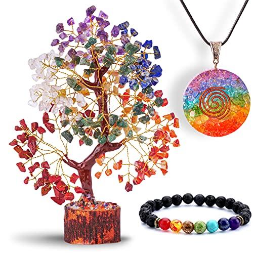YUVDIPR 7 Chakra Money Tree Healing Feng Shui Statues & Figurines Reiki Crystal Balancing Buddha Home Décor (SC-G + Bracelet)