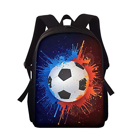NDISTIN Designer Paint Football Red Blue Backpack Kids Children Men's Women's Best Gift Travel Fashion Camping HIking Waterproof Double Shoulder School Bag Lightweight Bookbag Knapsack Work-out