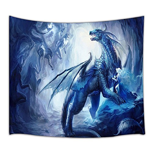 KOTOM Gothic Decor Tapestry, Custom Ice Dragon and Elf, Wall Art Hanging for Living Room Bedroom Dorm Decor 71X60Inches Wall Blankets
