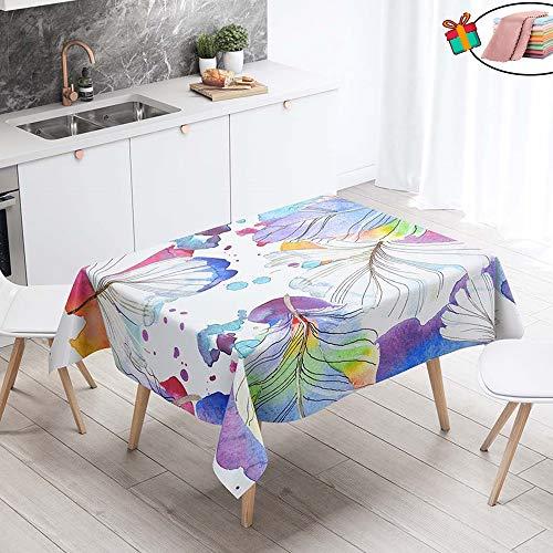 Morbuy Nappe Anti Tache Rectangulaire, Imperméable Étanche à l'huile 3D Imprimé Carrée Couverture de Table Lavable pour Ménage Cuisine Jardin Picnic Exterieur (Aquarelle,140x260cm)