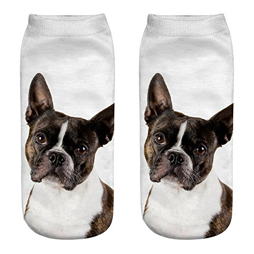 COZOCO Calcetines De Algodón Casuales Lindos 3d Impresión Calcetines Medios Calcetines De Dibujos Animados Calcetines Deportivos (una talla, A)