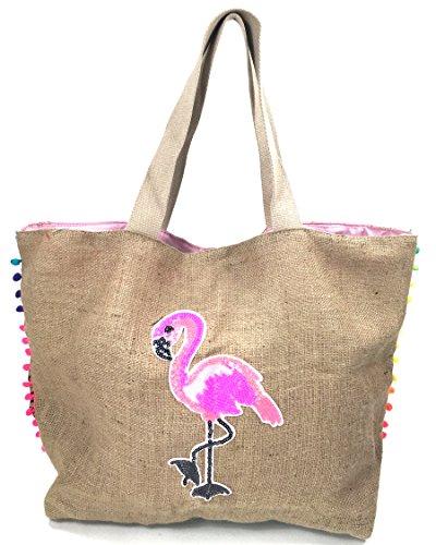 FISH IN THE SEA IBIZA Jute Shopper Flamingo Glitzer Pailletten bedruckte Organic Einkaufs Tasche Jute bag Neon Pom Pom XXL 60x45cm Damen sehr stabil Strand- City - Urlaubstasche