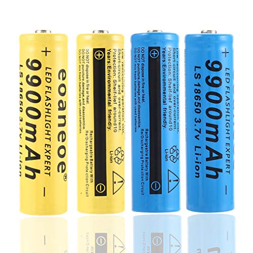 SIMEEGO 4 PCS 18650 Rechargeable Lithium Battery, high Capacity...