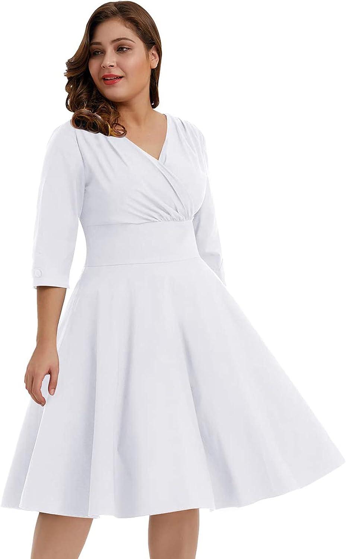 Hanna Nikole Women's Vintage 1950s Style Sleeved Plus Size Swing Dress