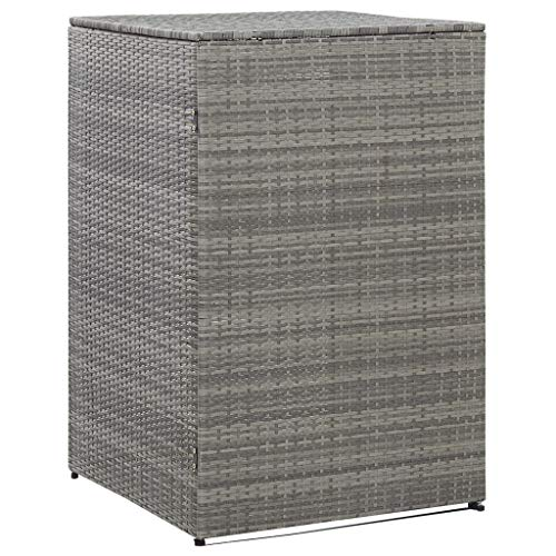 OUSEE Single Wheelie Bin Shed Anthracite 76x78x120 cm Poly Rattan