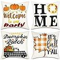 "Fayavoo Set of 4 Pumpkin Theme Fall Decor 18"" x 18"" Pillow Covers"