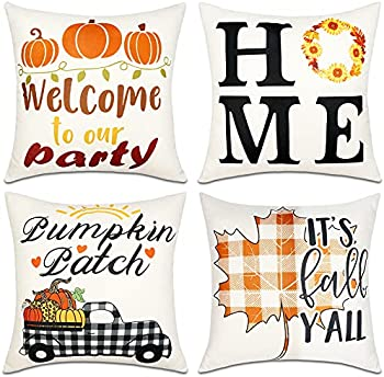 4-Pack OurWarm 18x18 Fall Decor Pillow Covers