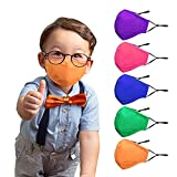 Kids Cloth Face Masks - 5 Pack Washable Reusable Children Face masks, Cool Colors, Cotton Polyester Fiber with Adjustable Straps, Nose Wire and Filter Pocket for Girls and Boys Outdoor, School