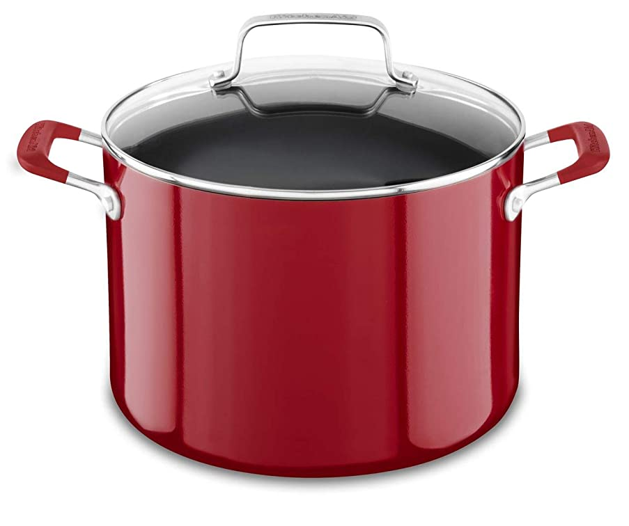 KitchenAid KC2A80SCER Aluminum Nonstick 8.0 quart Stockpot with Lid - Empire Red, Medium