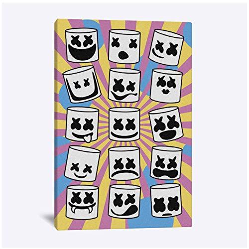 Marshmello masker Home Kids Baby woonkamer Slaapkamer Decor Print Poster Foto Schilderij Wall Art Canvas Print op canvas -50x70cm Geen Frame