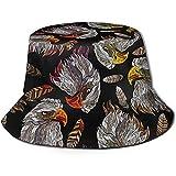Sombrero de Cubo de Viaje con Estampado de Cabeza de halcón clásico Unisex Sombrero de Pescador de Verano Sombrero de Sol Negro