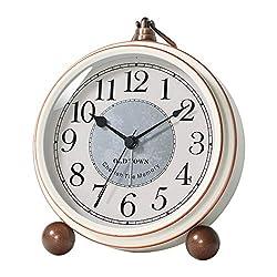 Kpin Vintage Antique Table Clock, Silent Non-Ticking Desk Alarm Clock Battery Operated Silent Quartz Movement, Suitable for Kids Seniors Bedroom Living Room Decor. (White, S)