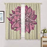 Boho Curtain Living Room Vintage Dahlia Flower with Murky Grunge Featured Background Growth Bohemian Pattern Curtains for bedroo Purple Khaki 63 x 72 inch