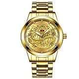 [ティンティンローズ]TingTing Rose メンズウォッチ 腕時計 エンボス 龍 ジルコニア ダイヤインデックス ゴールド 文字盤