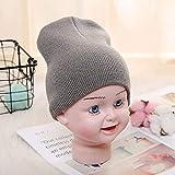 FSMMDM Hut Feste Mützen Hut für Kinder Mädchen Jungen Herbst Winter Mützen Warme Weiche Süßigkeiten Strickmütze Hüte Kleinkind Kinder Mütze, graue Mütze