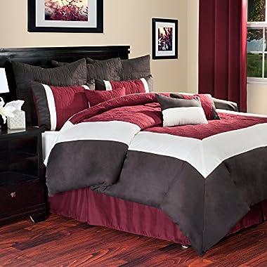 Bedford Home Hotel 10-Piece Comforter Set, King, Burgundy