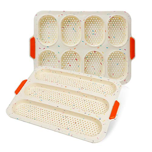 Mini Bread Baking Pan 13.4x9.5 (34x24cm) Silicone Baking Tray Non-Stick Baking Molds for Kitchen Toast(2pcs Beige)