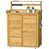 Outsunny Gartenschrank Geräteschrank mit Arbeitsfläche 3 Fächern Gartentisch mit Unterschrank 2 Türen Massivholz Braun 87 x 45 x 120 cm