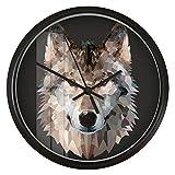 guyuell 8.7 Pulgadas Geometría Lobo Art Reloj De Pared De Cuarzo Mudo Reloj No Tic Living Room...
