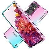 HNHYGETE Schutzhülle für Samsung Galaxy S21 Ultra, transparent, stoßfest, dünn, zweifarbig, weiches TPU