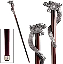 Design Toscano Staff of St. George Dragon Walking Stick, 35 Inch, Pewter Handle and Hardwood Cane, Silver