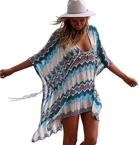 SHEKINI Damen Sommer Boho Strandponcho Quaste Asymmetrisch Lang Strandkleid Crochet Gestrickt Spitze Pareos (Large, See blau)