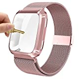 Maxjoy Compatible with Fitbit Versa Bands, Versa 2 Stainless Steel Metal Band Magnetic Mesh Replacement Bracelet Magnet Wristband with Protective Case Compatible with Fitbit Versa 2 1 Watch, Rose Gold
