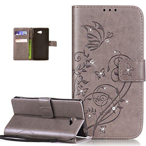 Kompatibel mit Sony Xperia M2 Hülle,Sony Xperia M2 Lederhülle,Strass Glänzend Prägung Blumen Reben Schmetterling PU Lederhülle Handyhülle Tasche Flip Wallet Ständer Schutzhülle für Sony Xperia M2,Grau