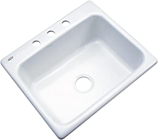 Dekor Sinks 32300 Princeton Cast Acrylic Single Bowl Kitchen Sink-3 Hole, 25