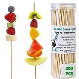 Brandon-super Bamboo Skewers 6 Inch (200 Pcs) Natural BBQ for Shish Kabob Grill Appetizer Fruit Corn Chocolate Fountain