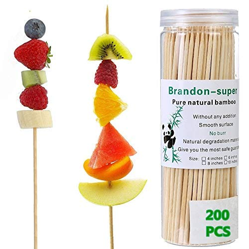 Bamboo Skewers 6 Inch (200 Pcs) Natural BBQ for Shish Kabob, Grill, Appetizer, Fruit, Corn, Chocolate Fountain