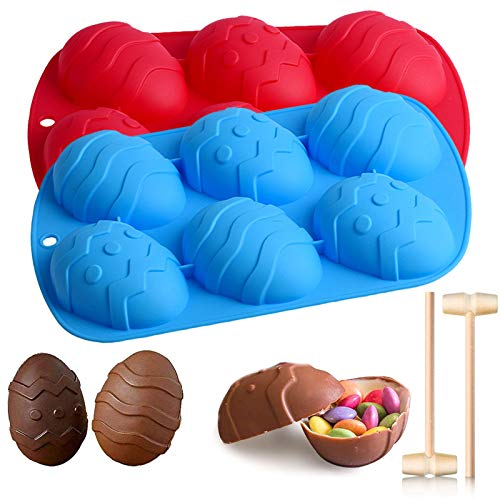 Large Easter Egg Silicone Molds for Chocolate Easter Egg Silicone Baking Molds Tray for Handmade Cocoa Bomb, Breakable Egg Chocolate Shells, Candies, Cake Mold, Set of 2 (6-Cavity)