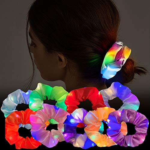 9 Pcs LED Light Hair Scrunchies Satin Elastic Bands Ties Ropes - 3 Colors Light Modes, Soft Cute Silk Scrunchy Hair Accessories for Women Girls Halloween Christmas Glow in The Dark Party Supplies