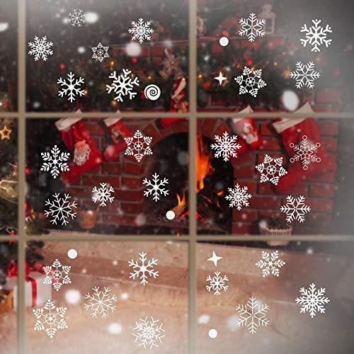Outus 111 Stück Weihnachten Schneeflocken Fenster haftet statische Schneeflocken Aufkleber für Weihnachtsfenster Anzeige