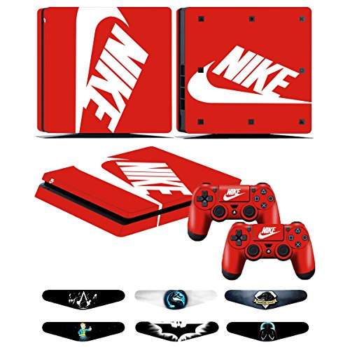 PS4 Slim Skins - Decals for PS4 Controller Playstation 4 Slim - Stickers Cover for PS4 Slim Controller Sony Playstation Four Slim Accessories with Dualshock 4 Two Controllers Skin - Nike Logo