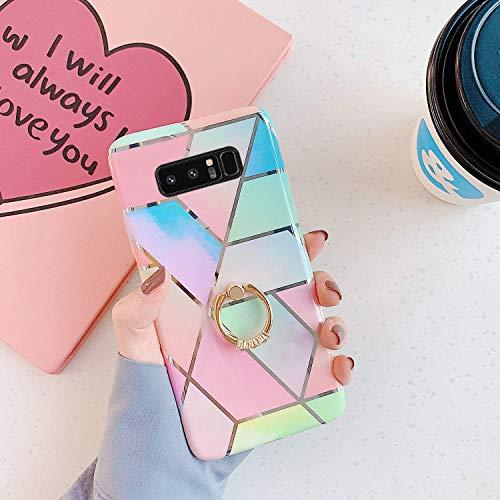 Uposao Coque pour Samsung Galaxy Note 8 Coque Girly Case 3D Motif Géométrique Marbre Design avec Support Téléphone Diamant Strass Coque Silicone Gel TPU Flex Soft Skin Etui pour Galaxy Note 8,#2