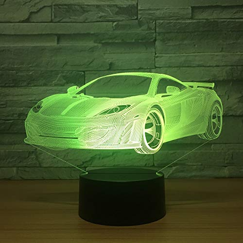 Cool Car Acrylic 3D Hologram Lamp 7 Colors Change Table Lamp Baby Touch Switch Colored Lights LED USB Night Light Atmosphere lamp