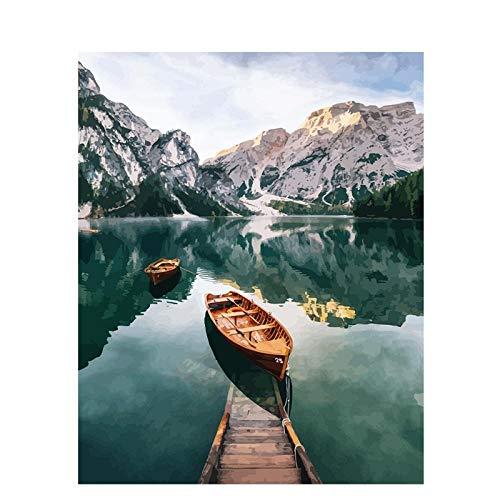Lonfenner Paint by Numbers Yamashita Lake Pittura Fai-da-Te, Paesaggio Digitale, Pittura a Olio Dipinta a Mano, Pittura Moderna a Parete-Senza telaio40X50cm