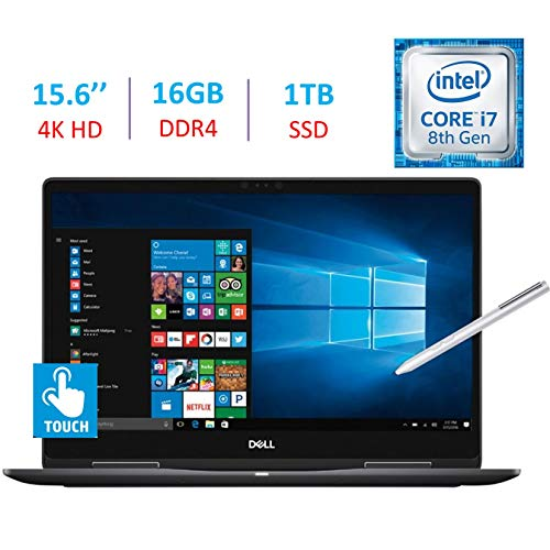 Dell 15.6-Inch 2-in-1 4K Ultra HD (3840 x 2160) Touch Laptop PC, Intel i7-8550U Processor, 16GB DDR4, 1TB SSD, NVIDIA GeForce MX130, Backlit Keyboard, Stylus Pen, Bluetooth, HDMI, Windows 10