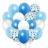114 Piezas Globos Azules y Blancos, Globo Confeti, Globo de metal. para Bebe 1 Año Decoraciones de Cumpleaños, Niño Bautizos Comunion Baby Shower, Graduacion Fiesta Arco Decoracion