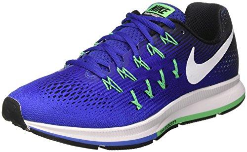 Nike Air Zoom Pegasus 33, Scarpe da Corsa Uomo, Blu (Med Blue/White/Deep Night/Black/Electro Green), 45.5 EU