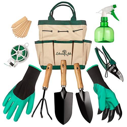 Lebensfrohh Garden Tool Set (9 Pieces – 4 Tools, Tote Bag, Spray Bottle,...