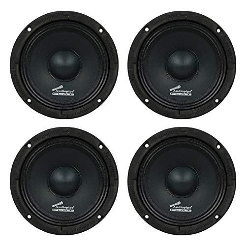 Audiopipe 4 x APMB-65FLT 250 Watt 6.5-inch Flat Mount APMB Series Midrange Driver Speaker w/ Flat House Design, Black (4 Pack)