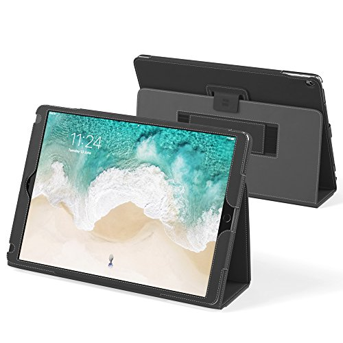 """Snugg iPad Pro 12.9"""" 1st & 2nd Gen (2017 & 2015) Leather Case, Flip Stand Cover - Blackest Black"""