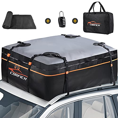 CORFICH Car Rooftop Cargo Carrier,15 Cubic Feet Waterproof Roof Rack Cargo Carrier with Free Lock+8...