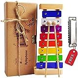 Holz Xylophon für Kinder - mit Mundharmonika und Lieder Buch: Perfekt Glockenspiel f. Kleine...