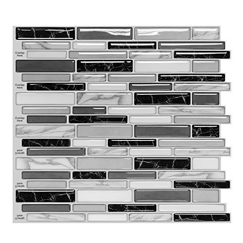 MORCART Fliesenaufkleber Selbstklebende Fliesendekor Aufkleber Backstein 3D Mosaik Wallpaper Küchenschränke Badezimmer Kamin Bodentreppe Abnehmbar Wasserdicht für Küche und Bad (MT1006, 5)
