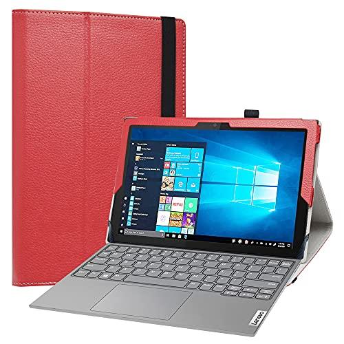 LiuShan Compatible con Lenovo IdeaPad Duet 3i 10,3 Pulgadas Funda,Folio Soporte PU Cuero con Funda Caso para Lenovo IdeaPad Duet 3i 10IGL5 Tablet(No es Compatible con Otros Modelos),Rojo